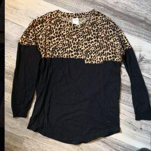 Pink Leopard Print Long Sleeve Oversized Shirt S